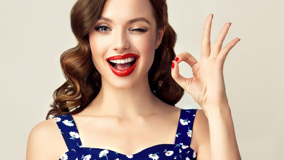 Woman with dental veneers